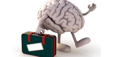 brain with arms and legs that take a suitcase, 3d illustration